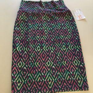 New Cassie Lularoe Skirt XS Geo Pencil Floral